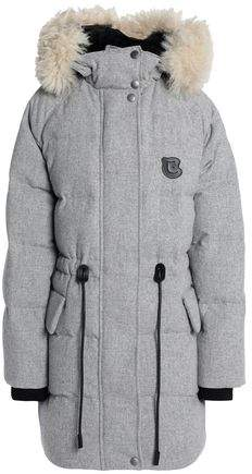 Shearling-Trimmed Quilted Wool-Blend Down Hooded Coat