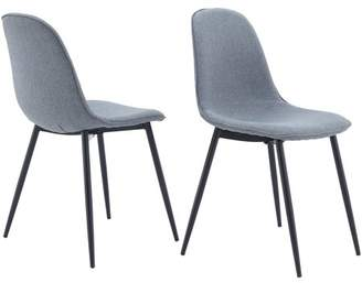 Mainstays Bucket Seat Metal Leg Dining Chair, Set of 2, Gray
