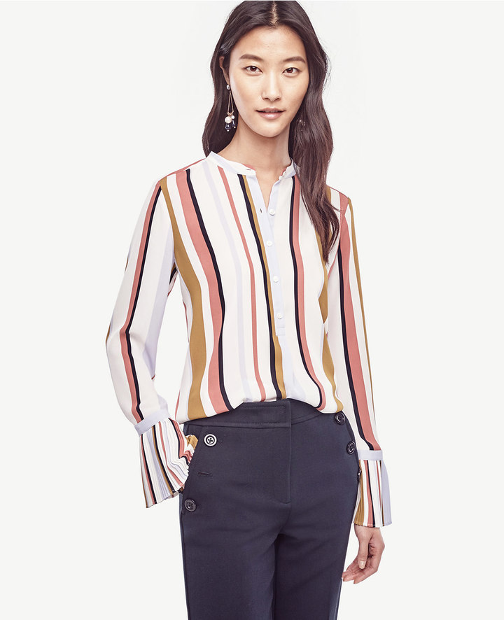 Ann Taylor Stripe Pleated Cuff Blouse