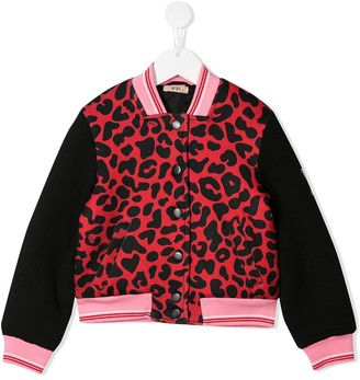 No.21 Kids animal print bomber jacket
