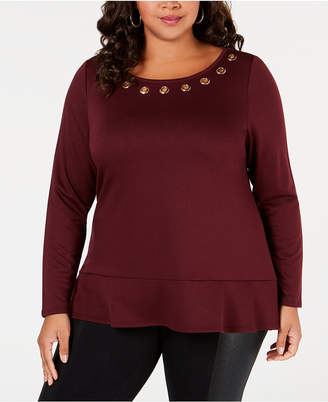 Belldini Belle by Plus Size Grommet-Trim Top