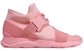 Christopher Kane Buckled Neoprene High-Top Sneakers