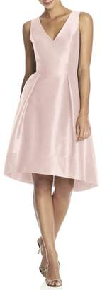 Alfred Sung Satin High/Low Fit & Flare Dress