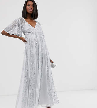 Asos Design DESIGN Maternity flutter sleeve maxi dress in mesh with embellished sequin godet panels