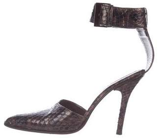 Gucci Snakeskin Ankle-Strap Pumps