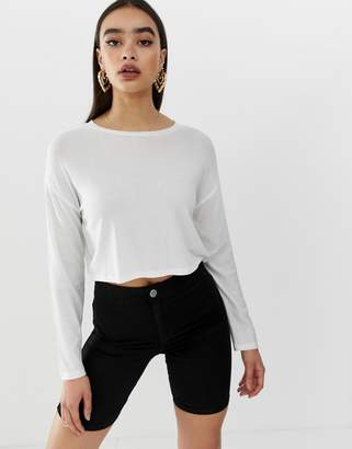 684b743d4273d Asos Design DESIGN long sleeve batwing rib crop in white