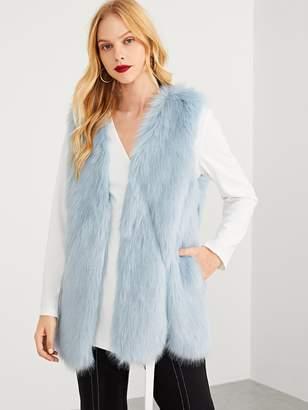 Shein Open Front Puffy Faux Fur Vest