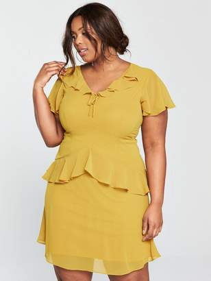 Lost Ink Plus Skater Dress With Frills - Yellow