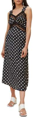 Topshop Polka Dot Lace Satin Slipdress