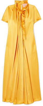 Roksanda Rahine Ruffled Silk-satin Midi Dress - Marigold