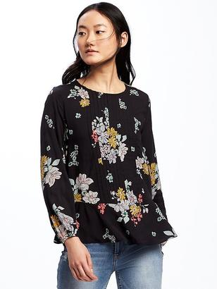 Floral Pintuck Swing Blouse for Women $32.94 thestylecure.com