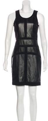 Nicole Miller Leather-Trimmed Mini Dress