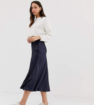 Asos DESIGN Tall bias cut satin slip midi skirt