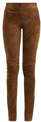 Joseph High Rise Stretch Lambskin Leggings - Womens - Brown