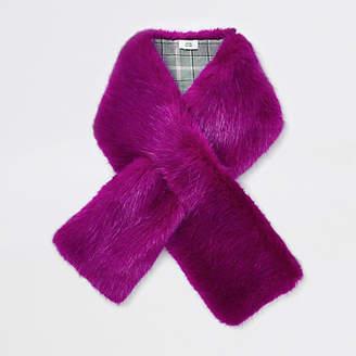 River Island Bright pink faux fur shawl scarf