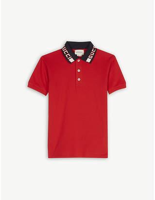 Gucci Logo collar cotton-blend polo shirt 4-12 years