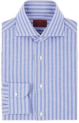 Isaia Men's Striped Cotton-Linen Dress Shirt