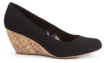 Wide Fit Black Canvas Wedge Court Shoes