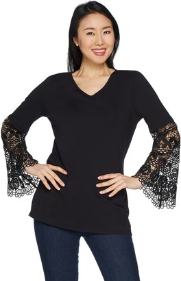 Belle By Kim Gravel TripleLuxe Knit Lace Sleeve V-Neck Top