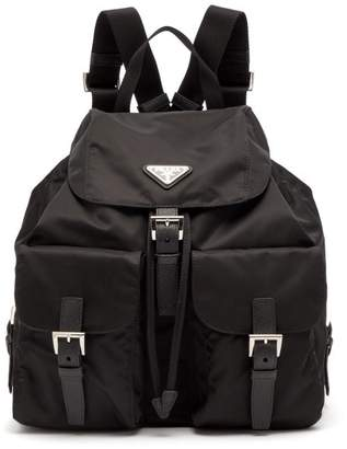 Prada Classic Leather Trimmed Nylon Backpack - Womens - Black