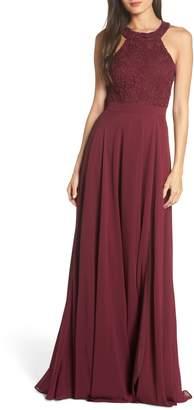 LuLu*s Love Poem Lace Halter Gown