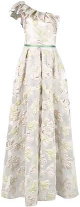 Marchesa floral one-shoulder dress