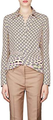 Prada Women's Geometric-Print Silk Blouse - Pink