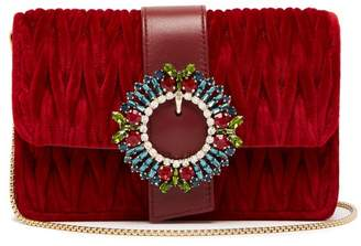 Miu Miu Mattelasse Velvet Cross Body Bag - Womens - Red