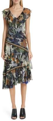 1c5e0c3224 Fuzzi Camo Print Tulle Ruffle Dress