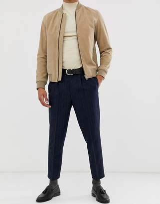 Asos Design DESIGN tapered smart pants in navy stripe