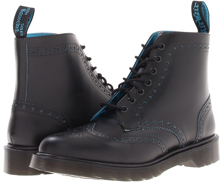 Dr. Martens Anthony Brogue Boot (Black/Blue Smooth Slice) - Footwear