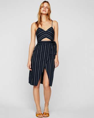 Express Striped Cut-Out Wrap Front Cotton Midi Dress