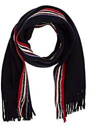 Barneys New York MEN'S STRIPE-ACCENTED WOOL-BLEND SCARF