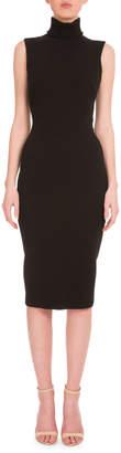 Victoria Beckham Sleeveless Turtleneck Sheath Dress, Black