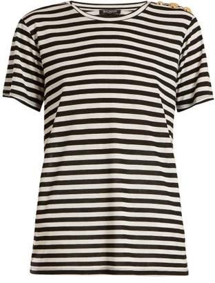 Balmain Button Embellished Striped T Shirt - Womens - Black White