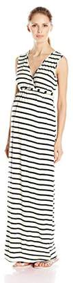 Three Seasons Maternity Women's Maternity Sleeveless Surplice Stripe Maxi Dress
