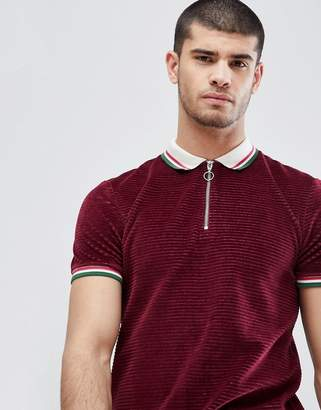 Asos Design Polo Shirt In Cord With Retro Tipping Collar And Cuff