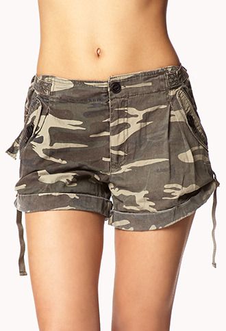 Forever 21 Buckled Camo Shorts