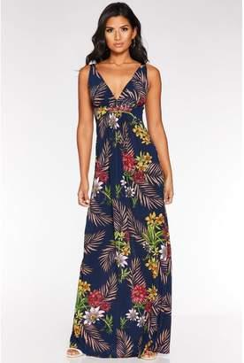 Quiz Navy Multicoloured Floral Print Maxi Dress