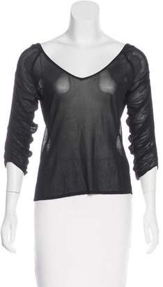 Alberta Ferretti Semi-Sheer Long Sleeve Top