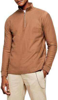 Topman Brown Twill Quarter-Zip Sweatshirt