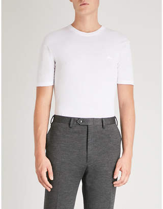 Brioni Logo-embroidered knitted cotton T-shirt