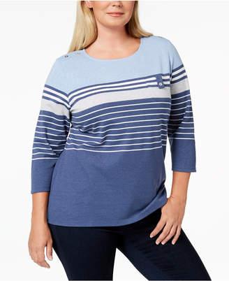 Karen Scott Plus Size Taylor Striped Top