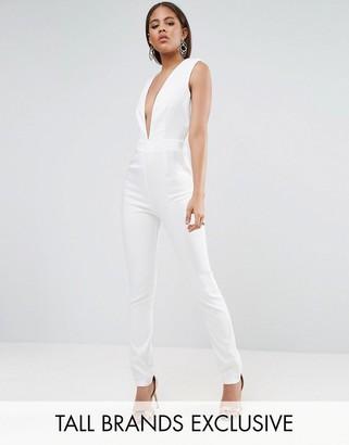 NaaNaa Tall Naanaa Tall Plunge Neck Tailored Jumpsuit $60 thestylecure.com