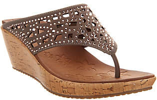 Skechers Wedge Thong Sandals with Rhinestones -Dazzled