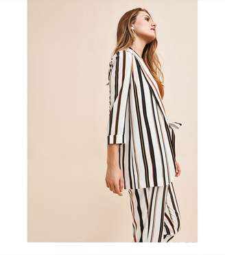 Dynamite Soft Open Front Blazer OFF WHITE WITH STRIPES