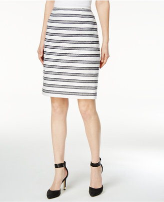 Calvin Klein Striped Bouclé Pencil Skirt $79 thestylecure.com