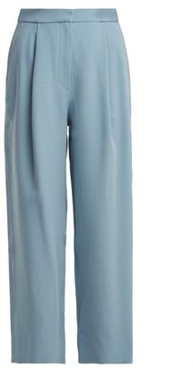 Roksanda Radella Cropped Wide Leg Trousers - Womens - Light Blue