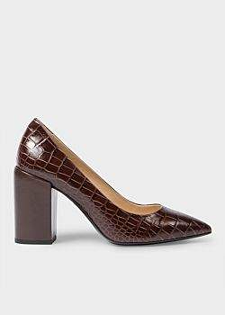Paul Smith Women's Brown Mock-Croc Leather 'Lin' Heels
