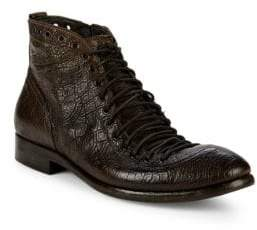 Jo Ghost Textured Leather Lace-Up Boots